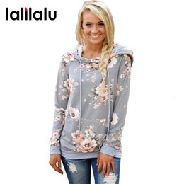 pink floral hoodie Australia - 2018 Autumn Fashion Womens Hoodies Long Sleeve Sweatshirt Women Hooded Floral Print Gray Ladies Pullover Kwaii Female Tops MX191019