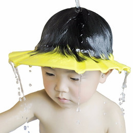 protect eyes UK - 1 PCS 26*28.5 cm Safe Waterproof Protect Eyes Hair Shower Bathing Tools For Kids Adjustable EVA shampoo cap