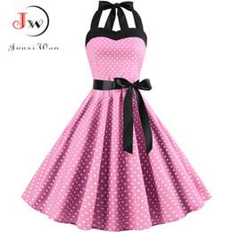 ebfff4f40d5b 2019 Women Polka Dot Vintage Dress Summer Big Swing Retro Robe Prom  Rockabilly Party Dress Sexy Halter Pinup Vestidos Plus Size