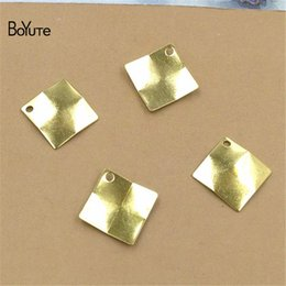 $enCountryForm.capitalKeyWord Australia - BoYuTe Wholesale (200 Pieces Lot) Metal Brass Stamping 11MM Square Charms for Jewelry Making Accessories Diy