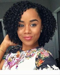 short afro brazilian lace wig UK - Short BOB brazilian kinky curly Human hair afro wigs for black women black full lace human hair wigs cheap for sale 12inch about