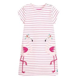 Chinese  Unicon Girls Dresses Pink Swan Cartton Girls Dresses kids designer clothes 100% Cotton Quality Striped Cartton Baby Girls Dresses Wholesale manufacturers