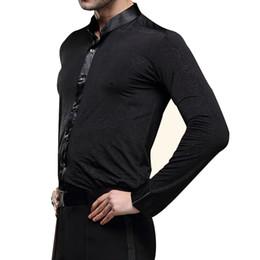modern men shirts 2019 - New Arrival Latin Dance Clohing for Men Male Dancewear Latin Dance Tops Ballroom Modern Rumba Cha Cha Shirt Black cheap