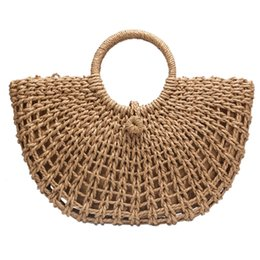bb5fc9b4b4 FGGS-Straw Bag Paper Rope Round Bucket Hollow Woven Bag Retro Casual Belt  Buckle Hand