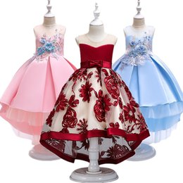 Long Tailed Tutus Australia - Flower Girl Dresses Red Chiffon Long Tailing Pageant Girl Summer Children 2-10yrs Wedding Party Birthday Tutu Dress With Big Bow Y190515