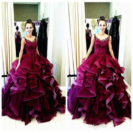 ball gown age 2019 - 2019 Sheer Scoop Lace Appliques Ball Gown Quinceanera Dresses Ruffles Floor Length Custom Junior Vestidos De SWEET 16 ag