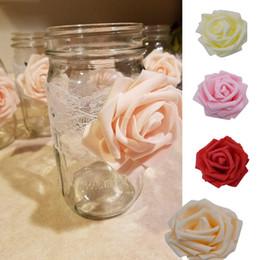 Foam Rose Heads White Australia - 30pcs Artificial 8cm Pe Foam Rose Flower Heads Wedding Bouquet Party Home Decorative Wreath Diy Flower Ball Wedding Decoration