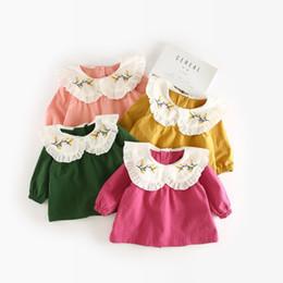 Girls Green Shirts NZ - Toddler girls princess shirts kids peter pan collar long sleeve shirt baby floral embroidery casual tops children 9-36 months