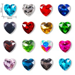 heart shaped glasses plastic Australia - heap Rhinestones & Decorations 20Pcs Glass Crystal Rhinestones 3D Heart shaped Stones 6mm Nail Art Decoration Gems Charm Design Acces...