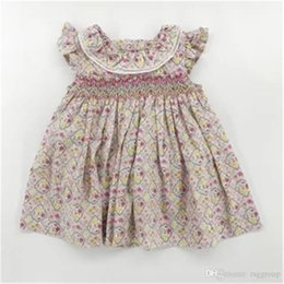 lemon print dresses Canada - Fahions INS Little Baby Girls Floral Plaid Dresses Fly Sleeveless Back Buttons Straps Flower Foral Turn-down Collar Princess Dresses