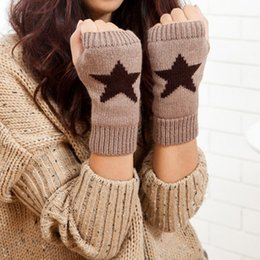 $enCountryForm.capitalKeyWord Australia - 2019 Autumn Winter Knitted Gloves Womens Solid Color Five-pointed Star Print Warm Mittens Gloves Fingerless Female