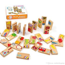 $enCountryForm.capitalKeyWord NZ - 28pcs Domino Blocks Early Education Childhood Wooden Building Block Toys Children StandardAnimal Pattern Domino Blocks Toy