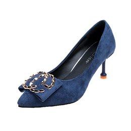 Zapatos de vestir de diseñador Mujer otoño Nueva versión coreana de las  mujeres de la multa salvaje con tacones altos de gran tamaño moda sexy ante  solo 34- ... 367dec807570
