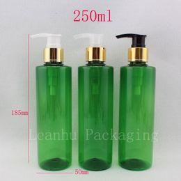 Green Plastic Bottles Australia - 250ml X 20 green body cream aluminum screw lotion pump cosmetic plastic bottles, 250g liquid soap shampoo bottle with dispenser