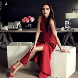 7d526049736 dresses beckham 2019 - Best Quality Victoria Beckham Woman Dresses Solid  Color Black red Sleeveless Mid