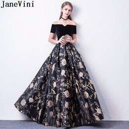 printed wedding bridesmaid dresses Australia - JaneVini Black Floral Flowers Long Party Dresses For Wedding Formal Gowns Short Sleeve Gold Print Bridesmaid Dresses For
