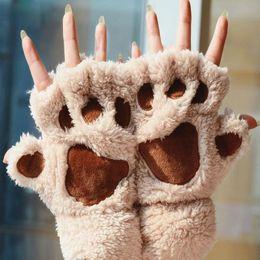 $enCountryForm.capitalKeyWord Australia - Winter Women Cute Cat Claw Plush Mittens Short Fingerless Gloves Half Finger Gloves