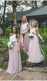 cheap rose red bridesmaid dresses Australia - Simple Cheap Country Bridesmaid Prom Evening Dresses Two Color White Rose Pink Tulle Ruched Long Wedding party Bridesmaid dress Cheap