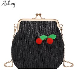 wholesale designer handbags Canada - Aelicy 2019 New Brand Ladies Woven Cherry Fruit Handbags Famous Fashion Shoulder Bag Female Luxury Designer Messenger Bag Purse