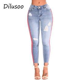 $enCountryForm.capitalKeyWord Australia - Dilusoo Skinny Women Jeans Pants Elastic Ripped Side Red Ribbon High Waist Jeans Thin Denim Pencil Pants Woman Casual Trousers