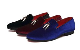$enCountryForm.capitalKeyWord UK - Casual Sickle Velvet Men Shoes Flat Slip-on Dress Shoes Casual Pointed Toe Solid Color Wedding Loafer Larg size 1a40