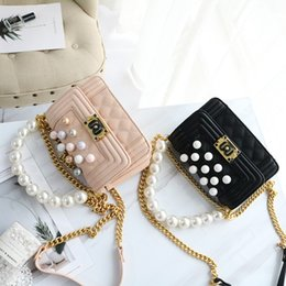 Spring Hand Bags NZ - Spring new tide women's small Plaid Pearl hand bill of lading shoulder Messenger bag chain bag