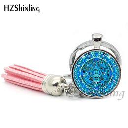 $enCountryForm.capitalKeyWord NZ - Fashion Mayan Calendar Keyring Aztec Calendar Keychain Tassel Bohemian Keychains Silver Round Glass Photo Key Chain Gifts TAK--17