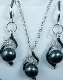 $enCountryForm.capitalKeyWord Australia - fine quality jewelry wholesale good 07524 Black Akoya Cultured pearl Earrings Pendant Necklace Set Grade silver-jewelry