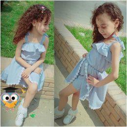 $enCountryForm.capitalKeyWord Australia - Baby Girls Elasticity Tunic Dress Children Flat Shoulder Ruffle Skirt Princess Sleeveless Lace Bowknot Romper Jumpsuit Pantskirt New A52202