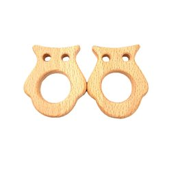 wooden charms pendants wholesale Canada - Beech Wooden Cat Teether Unfinished Wood Animal Food Grade Baby Wood Ring Teether DIY Nursing Necklace Charms Pendant