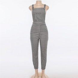 Women Fashion Jumpsuit Australia - Women Sleeveless Backless Pants Loose Plaid Long Jumpsuit Overalls Romper Pencil Pants Pants 2018 New Fashion Hot Sale