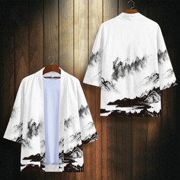 japanese clothing Canada - New Men Kimono Jacket Large Size Japanese Samurai Clothing China Landscape Painting Cardigan Male Loose Streetwear Shirt