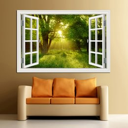 China 3D Window View Forest Landscape in Four Seasons 3D Wall Sticker Green Golden Tree Removable Wallpaper Home Decal Home Decor cheap 3d wallpaper sticker view suppliers