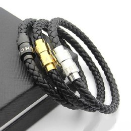 $enCountryForm.capitalKeyWord NZ - Simple braided leather rope bracelet with male and female personality 60 mm inner diameter stainless steel magnet buckle Rope Bracelet