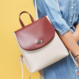 $enCountryForm.capitalKeyWord Australia - Belle2019 Both Leather Genuine Shoulders Bag Woman Will Capacity Cowhide Hit Color Ma'am Backpack