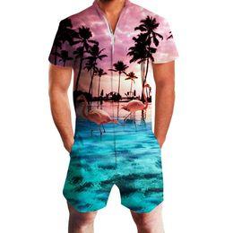 Wholesale gold jumpsuit men resale online - 2019 Hawaiian Sea Flamingo Print D Rompers Men Jumpsuit Playsuit Harem Cargo Overalls Summer Casual Zipper Beach Men s Sets