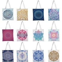 Folding rolling shopping bag online shopping - Mandala Pattern Shopping Bags Floral Printed Girl Shoulder Bag Reusable Student Bag Housewife Supermarket Grocery Shopping Bags