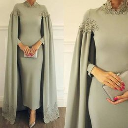 $enCountryForm.capitalKeyWord NZ - 2019 Modest High Neck Sheath Dresses Formal Occasion Evening Party Gowns with Wrap Appliques Ankle Length Arabic Mother Of Bride Groom