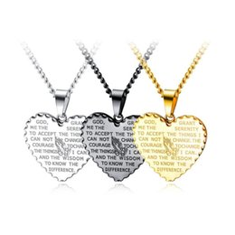 $enCountryForm.capitalKeyWord Australia - Fashion Tide Men Charm Heart Prayer Hand Scripture Pendant Necklace Punk Hip Hop Jewelry Stainless Steel Chain Gold Silver Black For Men