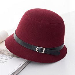 decorate hats 2019 - Women Dome Wide Round Equestrian Hat Bucket Belt Decorated Bowler Spring Autumn Winter Cap Hat cheap decorate hats