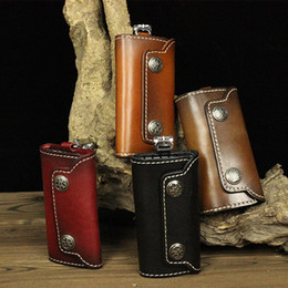wholesale chain wallets NZ - Unisex Genuine Leather Key Wallets Men Vintage Casual Key Ring Holder Bag Purse Women Chic Cowhide Keychains Holder Keys Organizer Bag