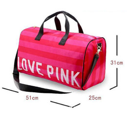 $enCountryForm.capitalKeyWord NZ - Women Handbags Pink Letter Large Capacity Travel Duffle Striped Waterproof Beach Shoulder Outdoor Business bag