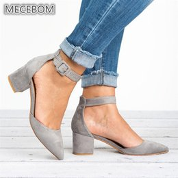 T B Wedding Dresses NZ - Dress Shoes Women Pumps Platform Black Low Heels Suede Casual T Stage Buckle Strap Point Toe Ladies Sandals Wedding Zapatos Mujer 650w