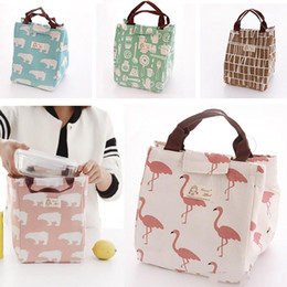 Brief Bags Australia - Canvas Insulated Lunch Bag Flamingo Bear Drawing Picnic Lunch Pouch Bag Baskets With String Home Storage Organization