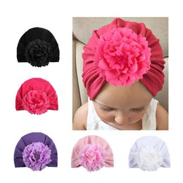 Girls Winter Flower Beanies Australia - Artificial Flower Baby Beanie Girl Soft Infant Floral Knitted Hat Children Breathable Head Wrap Fashion Turban Brand New 3 85ml D1