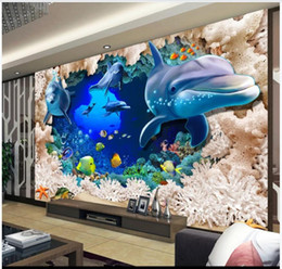 underwater bedroom wallpaper UK - Custom photo wallpaper 3d mural wall papers Stereo 3D Underwater World Dolphin Marine Animal Living Room TV Background Wall papers decor