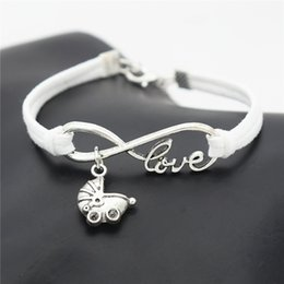 $enCountryForm.capitalKeyWord NZ - New Infinity Love Babies Pram Buggy Lovely Baby Carriage Charm Bracelet Bangles Inspired Synthetic White Leather Rope Cuff Women Men Jewelry