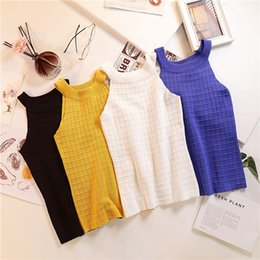 top designers wholesale Canada - Casual Crop Top Famale Designer Tanks Womens Neck Strapless Knitted Vest Solid Color Slim Fit