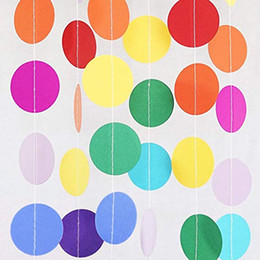 $enCountryForm.capitalKeyWord Australia - Paper Garland, 4 meter Colorful Banner Hanging Paper Garland Circle Dots Wedding Bridal Showers Birthday Party Baby Shower Event Party Decor