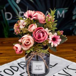 White Tea Roses Australia - 30cm rayon tea rose flower head home decoration wreath gift simulation pearl bouquet display artificial flower branch